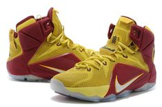 timeless design 244ea c33a7 WMNS LeBron 12 GS Homecoming King Cleveland Cavs For6iven Away Sonic Yellow  Wine Red Metallic Silver