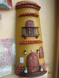 botellas decoradas como tejas en porcelana fria - Buscar con Google
