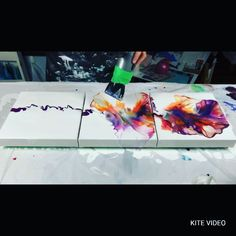 triptych painting videos - Triptych Dutch Pour - Check this out! Acrylic Pouring Art, Acrylic Art, Pour Painting, Diy Painting, Painting Abstract, Painting Videos, Online Painting, Abstract Painting Techniques, Abstract Canvas Art