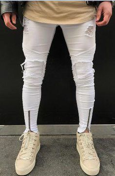 8ab9074d7a Men's Stretch Vintage Style Broken Holes Denim Pants. See more. #MensJeans  Slim Jeans, Spring Trends, White Jeans, Biker, Trousers, Man