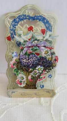 Victorian Vintage Valentine, Fold Down, Doves & a Basket of Daisies & Violets
