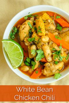 White Bean Chicken Chili. Somewhere between a soup and a stew, this healthy eating white bean chicken chili is a flavourful meal that totally satisfies. #healthyeating #cleaneating #mexicanfood #mexicaninspired #soup #stew