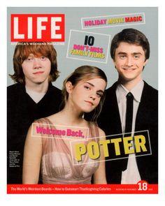 Co-stars of Harry Potter films Rupert Grint, Emma Watson and Daniel Radcliffe, November 18, 2005