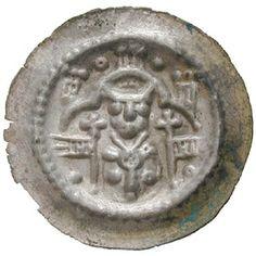 Hildesheim, Bistum, Heinrich I., Brakteat, f.vz: Heinrich I. 1247-1257. Brakteat. Brustbild des Bischofs mit zwei Kreuzfahnen vor… #coins