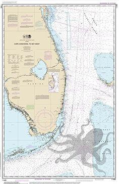 Cape Canaveral Octopus Nautical Chart printed on sailcloth for home décor wall art print. Unique Textile Printing http://www.amazon.com/dp/B00P2P3SXE/ref=cm_sw_r_pi_dp_HPrwub006MSP7