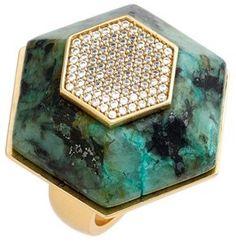 Rachel Zoe 'Ali' Stone & Crystal Hexagon Ring