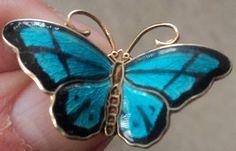Norwegian Sterling Silver Enamel Butterfly Brooch - Hroar Prydz Norway   eBay