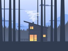 Dribbble - Cabin in the Woods by Justin Middendorp