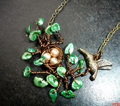birds nest necklace, the pearl leaves and branches are the perfect touch