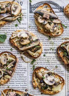Mixed-Mushroom-Bruschetta with brie
