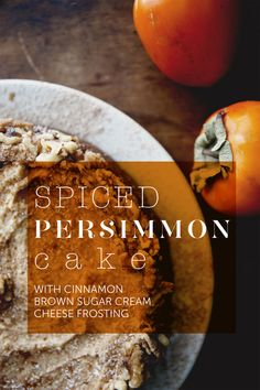 spiced persimmon cake with cinnamon brown sugar cream cheese frosting [via the kitchy kitchen] Bakery Recipes, Dessert Recipes, Cooking Recipes, Persimmon Recipes, Persimmon Bread, Persimmon Cookies, Fall Recipes, Sweet Recipes, Thomas Recipe