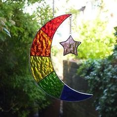 Stained Glass Rainbow Moon Suncatcher / Mobile - Brand New in Pottery, Porcelain & Glass, Glass, Stained Glass Stained Glass Ornaments, Stained Glass Christmas, Stained Glass Suncatchers, Stained Glass Projects, Stained Glass Patterns, Stained Glass Art, Fused Glass, Glass Wind Chimes, Blown Glass Art