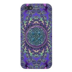 Psychedelic Fractal and Purple Blue Celtic Knot Case For iPhone 5