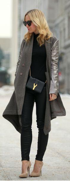 Coat: Rick Owens   Turtleneck: J Crew   Leather Pants: J Brand   Shoes: Jimmy Choo   Sunglasses: Celin