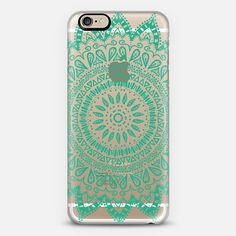 BOHEMIAN FLOWER MANDALA IN TEAL - CRYSTAL CLEAR PHONE CASE - Classic Snap Case