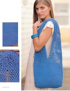 CROCHE COM RECEITAS: Bolsa de croche azul