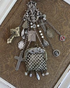 Sacred Chatelaine Necklace or Belt with Antique Bag, Multiple Antique Medals, Antique Engraved Nun's Cross & Stanhope Cross