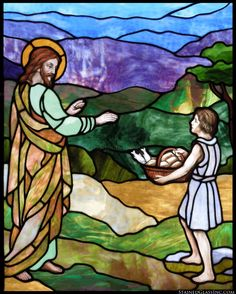 """Loaves and Fishes"" Religious Stained Glass Window"