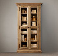 Salvaged Wood Glass Door Cabinet | Wood Shelving & Cabinets | Restoration Hardware