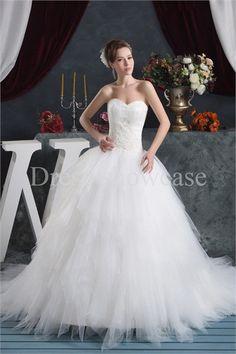 Fantastic Beading A-Line Natural Sweetheart Summer Wedding Dress