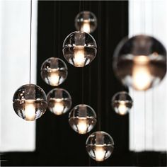 modern stairwell led chandelier lighting large bubble crystal ball pendant lights stairway. Black Bedroom Furniture Sets. Home Design Ideas