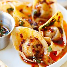 Sichuan Red Oil Wontons - the KING of all wontons in spicy vinegar sauce. SO good!