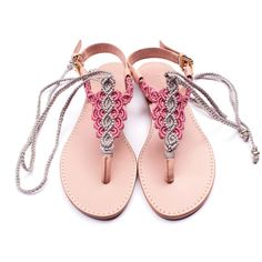 Sandals Summer Silver Grey and Pink Macrame and Pink Leather Sandal / Summer sandal / thong… - There is nothing more comfortable and cool to wear on your feet during the heat season than some flat sandals. Boho Sandals, Sandals Outfit, Bare Foot Sandals, Flat Sandals, Leather Sandals, Pink Leather, Calf Leather, Ways To Lace Shoes, Hippie Shoes