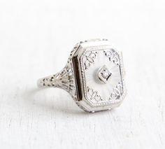 Antique 14k White Rock Crystal Ring Vintage Rock by MaejeanVintage, $595.00
