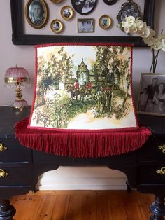 Victorian /Large/fringe/Hunting Scene Tally Ho/lamp shade/rich maroon color/silk screened print on both sides Vintage Love, Unique Vintage, Vintage Shops, Tally Ho, Granny Chic, Home Goods Decor, Silk Screen Printing, Maroon Color, Vintage Home Decor