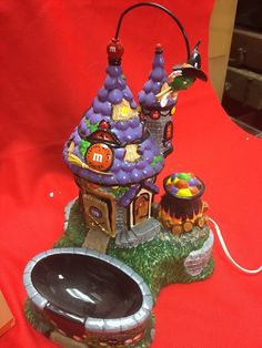 """M M Dept 56 Flying Witch""""s Castle and Candy Dish 