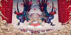 Illustrations of the New on Behance Chinese Zodiac, Chinese Art, Chinese Style, I Phone 7 Wallpaper, Folk Religion, New Year 2017, Lion Art, Japanese Aesthetic, Tatoo Art