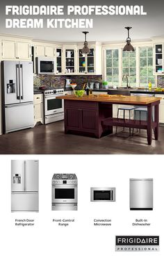 The Frigidaire Professional collection features stainless steel appliances that offer powerful performance and consistent results, with a contemporary and professional look that'll brighten up any kitchen.