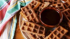 Like waffles? Then you'll love these crispy churro waffles dusted in cinnamon sugar. It's the perfect keto breakfast food you can enjoy any time of the day. Churro Waffles, Cream Cheese Coffee Cake, Mexican Chocolate, Hot Chocolate, Waffle Recipes, Dip Recipes, Keto Recipes, Recipies, Waffles