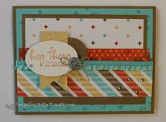 Holly used the Hey There Paper Pumpkin stamp with Retro Fresh dsp & Washi Tape, Banner Framelits, Arrows embossing folder, & more. All supplies by Stampin' Up!