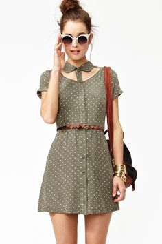 """Stellar gray silk dress featuring cutout detailing and an ivory star print. Looks super cute paired with a skinny belt and wedges."""