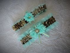 Brown True Timber MC2 Camo with Mint Green Garter for wedding or prom by- TheMomentWeddingBoutique