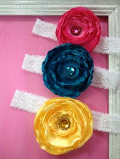 large fancy satin rose headband- pink, teal or yellow, $8.50