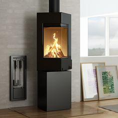 Rais Q-Be Wood Burning Stove - Black Glass Door