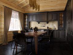 Кухня. Дизайн интерьера частного загородного дома (коттеджа) в стиле шале, 180 кв.м.