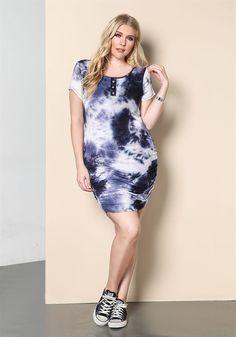 Plus Size | Plus Size Tie Dye Ruched Dress | Debshops.com ♥︎︎