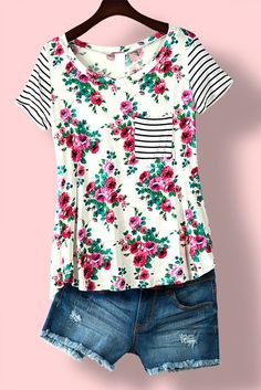 Colorful floral printed tee with striped contrast! Simply perfect! Fits true to size. 95% RAYON, 5% SPANDEX