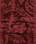 "Pile On Pile Velvet (It: velluto alto-basso or soprariccio): A cut velvet with different heights of cut-pile which produce a pattern.    	    Pile on Pile Velvet  Silk  Circa 1560-1580  Italy    ""With the use of rods of varying thicknesses, patterns can be created with different heights of pile; the pattern on the fabric becomes three-dimensional, like that of a bas-relief."" (Landini 1)    ""Worked velvet with a design created using differnt levels of fur."" (Tagliabue)"