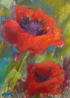 Red Poppies Floral 5x7 Original Pastel by KarenMargulisFineArt