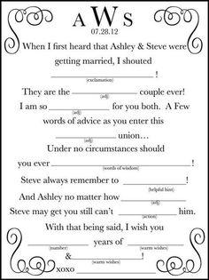 Free Wedding madlibs | Wedding Mad Lib A Fun Guest Book by WeddingsByJami... / wedding ...