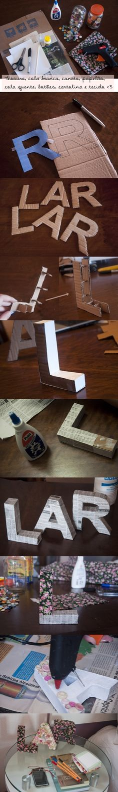 DIY - decorated letters - home decor idea Cardboard Letters, 3d Letters, Initial Letters, Diy And Crafts, Paper Crafts, Arts And Crafts, Letter Standee, Diy Gifts, Handmade Gifts