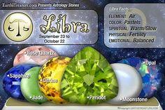 Libra stones: Rose Quartz, Sapphire,Jade, Citrine, Peridot, Moonstone, Opal -Book of Shadows