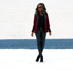 Burgundy blazer, BB Dakota Blazer, Leather legging, Joe fresh black button up, Tie Neck top, black booties, Vince Camuto booties, style my dreams blog, Winnipeg fashion blogger, african blogger