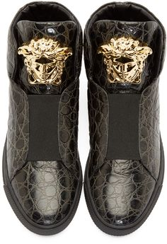 Versace Black Croc-Embossed Medusa High-Top Sneakers
