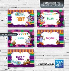 Krishna Food Tents / Food Tag Cards quantities) for Birthday Boy / Girl of Any Age / Baby Shower Food Tags, Food Labels, Shower Party, Baby Shower Parties, Boy Birthday, Birthday Ideas, Krishna Birthday, Drink Tags, Chips And Salsa