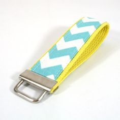 Chevron Key Fob - Aqua and White with Your Choice of Webbing Color - Ready to Ship
